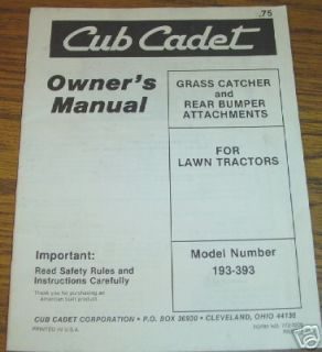 Cub Cadet Lawn Tractor Attachment Operators Manual ih