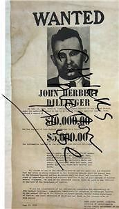 John Dillinger Great Depression Criminal Copy 1934 Wanted Poster