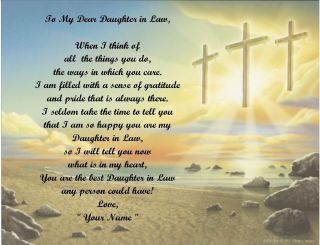 Gift/ Birthday Gift For Daughter in Law Personalized Poem 3 Crosses
