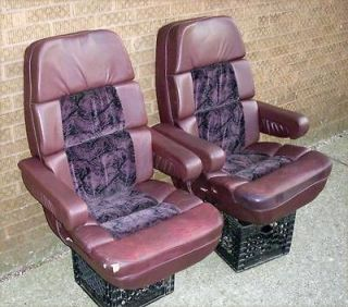 Ford Econoline Custom Van Pair of Purple Leather Seats Captain Chairs