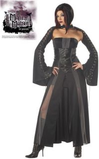 Sexy Womens Goth Black Dress Vampire Halloween Costume