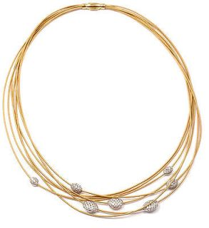AUTHENTIC MARCO BICEGO 18K YELLOW GOLD DIAMOND 7 STRAND NECKLACE