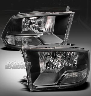 2009 2012 DODGE RAM PICKUP CRYSTAL HEADLIGHT LAMP BLACK 2010 2011 1500