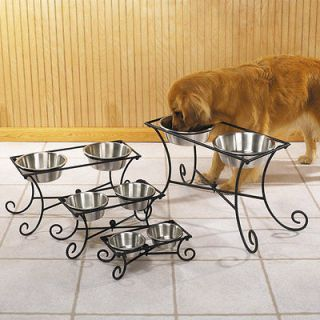 Pet Studio Wrought Iron Raised Dog Feeders Diners w/ 2 Bowls 1 QUART