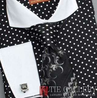 Dress Shirt,Steven Land White Spread Collar French Cuffs CottonPolka