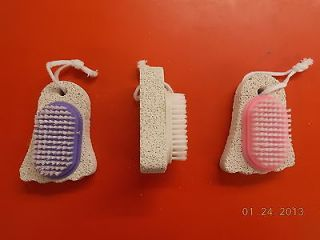 Foot Pumice Stone Brush Attached Nail Pedicure Scrubber Assorted