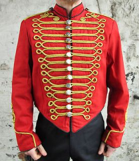 Red Military Jacket Gold Braid Parade Tunic Guard Coat Black Trim