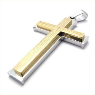 Silver Gold Prayer of Lord Stainless Steel Cross Pendant Mens Necklace