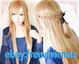 Art Online Asuna Yuuki Braided 80cm Long Pale Gold Brown Cosplay Wig