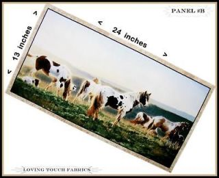 LARGE SSI WESTERN SOUTHWESTERN PAINT HORSES FABRIC PANEL 13 X 24 #B