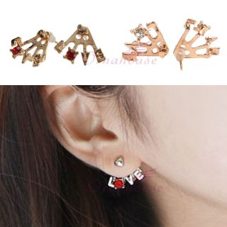 New Korean Style Gold Plated Heart Love Letter Ear Stud Earrings Red
