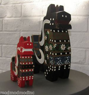 Pair Japan Painted Horses Good Luck Red Black Mid Century Modernist
