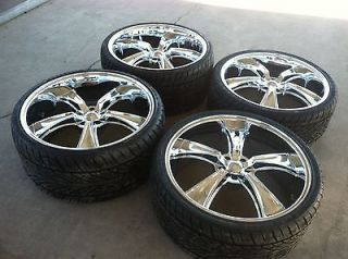 22 CHROME RIMS TIRES 5X115 CHARGER MAGNUM CHRYSLER 300 RWD VN805