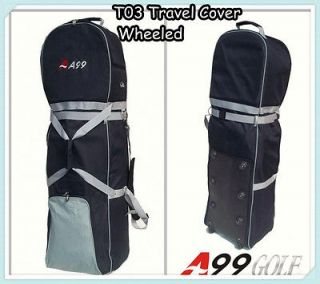 T03 A99 Golf Bag Travel Cover Wheeled Rolling New Black/Grey