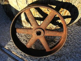 ANTIQUE CAST IRON WHEEL INDUSTRIAL STEEL PULLEY WAGON STEAMPUNK ART