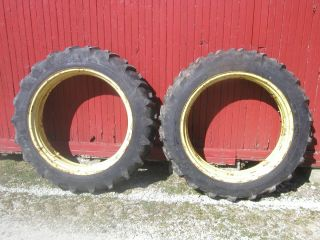11.2x38 Field & Road rear tractor tires 98% tread & John Deere 50 rims