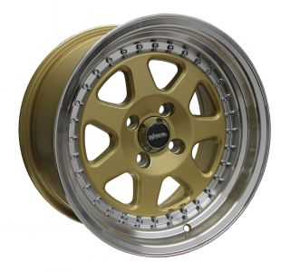 RS7 Gold Machined Lip Wheels 15x8 3 Lip Rim Offset Civic Integra DR27