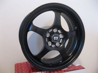 16 inch SUBARU IMPREZA WRX BLACK RIMS WHEELS 5x100 +50mm NEW MOTEGI