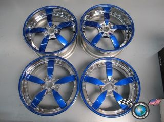20 Staggered Chrome Blue Custom Rims Wheels Lexus Ford Acura
