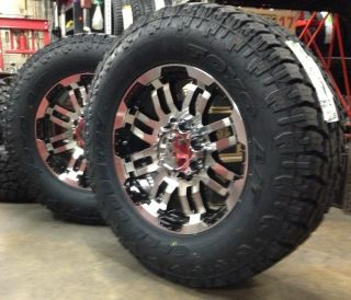 18 Vision Black Wheels rims 33 Toyo AT2 Tires 8x6 5 8 lug dodge Chevy