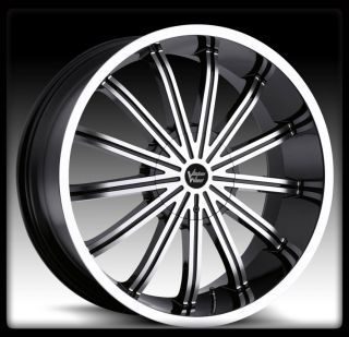 VISION 456 XTACY 6X135 GLOSS BLACK MACHINED WHEELS RIMS 22 INCH +30