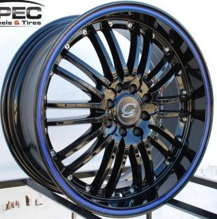 G820 Wheel 5x120 114 3 38 Black Blue Rim Fits Celica Civic RSX