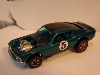 HOT WHEELS ORIGINAL REDLINE BOSS HOSS MUSTANG, DARK AQUA, SPOILERS