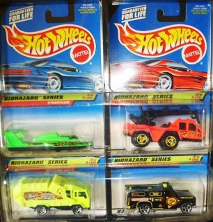 1998 HOT WHEELS BIOHAZZARD SERIES OF 4 CARS COMPLETE LOT MOC ★