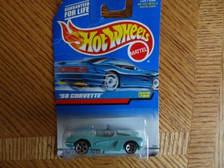 HOT WHEELS CAR 58 CORVETTE BLUE CONVERTIBLE COLLECTOR # 780 NEW IN