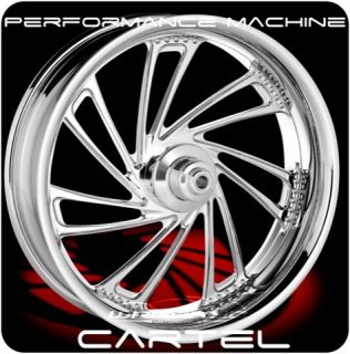 PERFORMANCE MACHINE CARTEL FRONT REAR WHEELS & TIRES HARLEY FLH FLHR