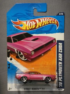 HOT WHEELS STREET BEASTS 11 70 PLYMOUTH AAR CUDA #3 DIECAST CAR NEW