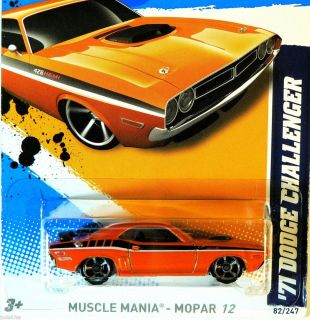 Hot Wheels Muscle Mania Mopar 12 71 Dodge Challenger Orange K Case