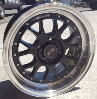 15 inch STR502B Black Mach Rims and Tires 4x100 Accord Civic Fit