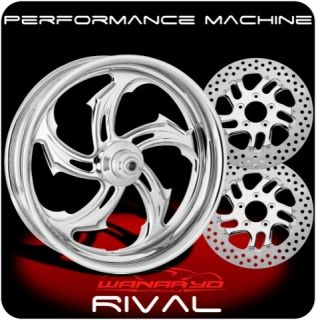 CHROME PERFORMANCE MACHINE RIVAL WHEELS, ROTORS, PULLEY TIRES HARLEY