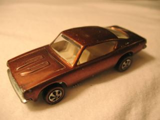 GREAT vintage Hot Wheels Custom Barracuda Mattel Red Line car Copper