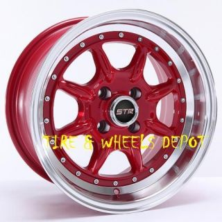16 inch STR504R Red Machin Rims and Tires 4x100 Accord Civic Fit