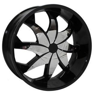 20 Black Wheels Rims Tires Pkg Chrome Inserts Rocknstarr 608 FWD