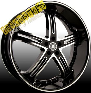 24 INCH VERSANTE RIMS WHEELS TIRES VW226 BLACK 24X9 5 5X115 CHALLENGER