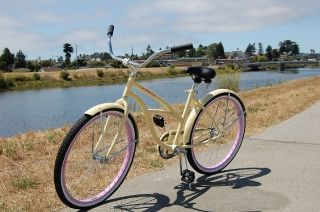 beach cruiser bicycle, vanilla with pink rims, beach bike with fenders