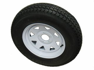 Kenda Trailer Tire 15x6 5 Bolt White Spoke Wheel Rim camper RV