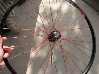 i9 Front Wheel Black with Red Spokes ZTR 355 Notubes Rim WOW