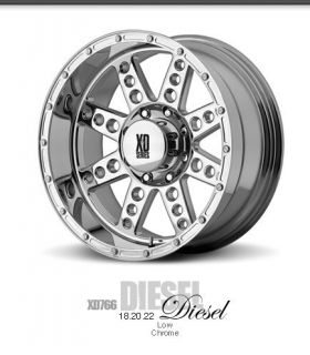 22 inch 22x14 KMC XD Diesel Chrome Wheels Rims 8x170