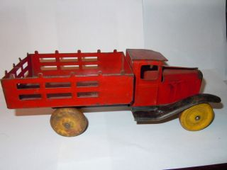 1930s Metal Toy Stake Body Truck Wooden Wheels All Original
