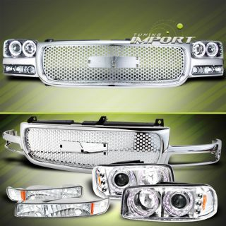 2000 2006 GMC YUKON SIERRA CHROME LED PROJECTOR HEAD LIGHT BUMPER LAMP