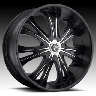 24 Dub Mamba 24x9 5 Wheel Set Matte Black 24 inch Rims