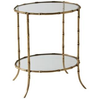 Antique Brass Bamboo Side Table   #F7911
