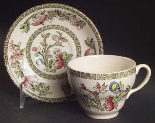 Johnson Brothers Indian Tree (Green Key, Cream) Flat Cup & Saucer Set, Fine Chin