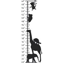 Kids Room Cute Animals Growth Chart Vinyl Wall Decal (LargeSubject OtherMatte Various colors, clear backgroundImage dimensions 36 inches high x 12 inches wide )