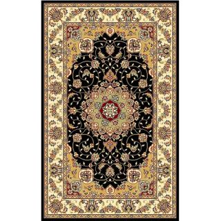 Lyndhurst Collection Traditional Black/ Ivory Rug (33 X 53)