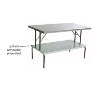 Eagle Group 30x72 Stainless Folding Table   Removable Galvanized Undershelf